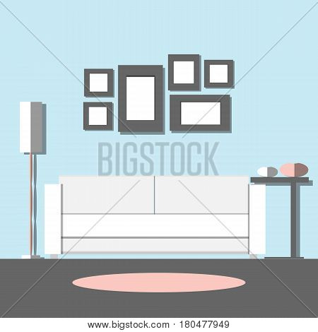 Living room interior. Modern design with furniture: sofa vase floor lamp and pictures. Flat style vector illustration.