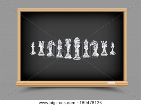 White drawing chess figures set collection on black education blackboard. Intellectual strategic lesson. Items for chessboard game