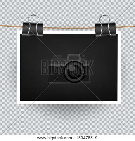 Paper horizontal photo hang on the cord on transparent background. Empty exhibition of template to insert your photography. Camera symbol for default picture show