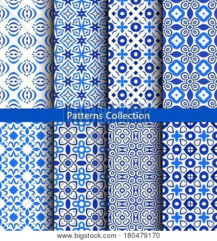 Blue Abstract Flower Patterns. Seamless Boho Backgrounds. Round ornament design elements. Vector illustration for wallpaper print, linen fabric. Ethnic textile graphic. Floral capsule collection.