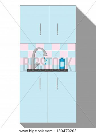 Kitchen Sink. Cartoon Modern Interior with kitchenware. Vector illustration in Flat style.