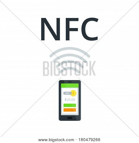 Near Field Communication vector Icon. NFC and Mobile payment flat isolated concept.