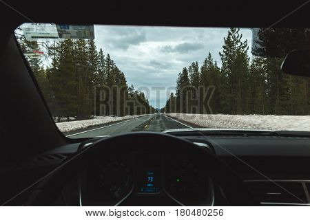 Driver's perspective from steering wheel on a snowy winter highway with tall forest trees.