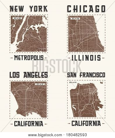 Set of US cities vintage t-shirt designs. Tee shirt print typography label badge emblem. Vector illustration.