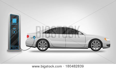 Electric car charging station and banner isolated on white background Vector Illustration. Electricity eco new technology cars of the future, a symbol for your projects.