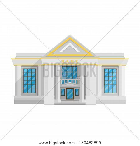 Bank building isolated Flat in style on a white background vector illustration. The institution which holds money and issued loans, currency exchange, a symbol for your projects.
