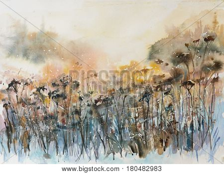 Abstract nature background with floral motifs. Picture created with watercolors.