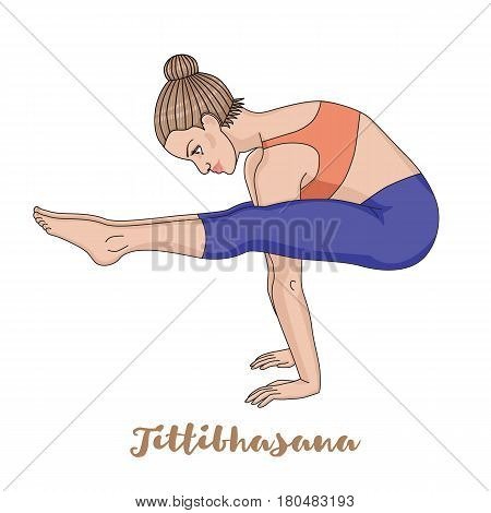 Women silhouette. Firefly yoga pose. Tittibhasana Vector illustration