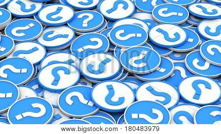 Infinite circles blue and white question marks background. 3D Rendering. poster