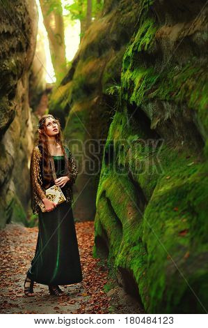 Vertical full length shot of a beautiful long haired young female elf in a dress walking in the forest looking around holding an old book copyspace mystery fairytale myth legendary creature cosplay.
