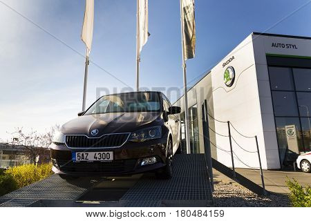 Prague, Czech Republic - March 31: Skoda Fabia In Front Of Dealership Building On March 31, 2017 In