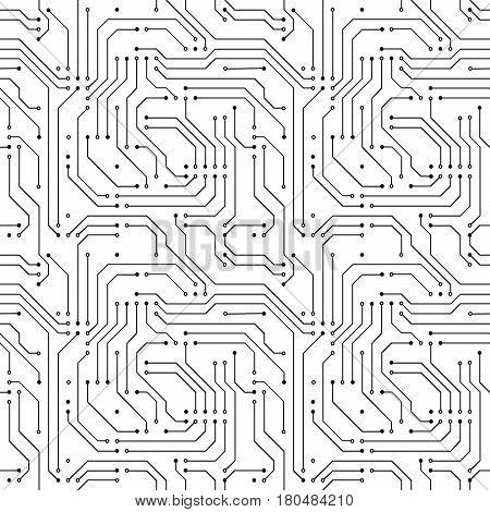Black computer microchip seamless pattern on white
