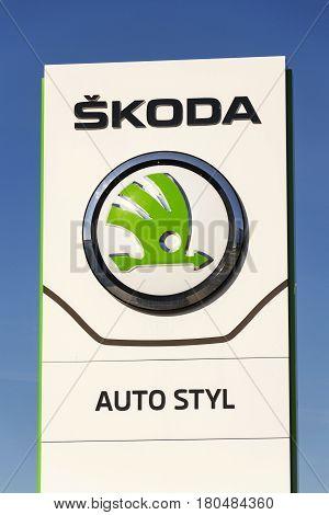 Prague, Czech Republic - March 31: Skoda Auto Automobile Manufacturer From Volkswagen Group Company