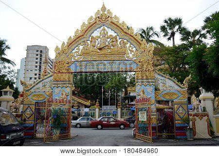 Georgetown/Malaysia - September 2012: Thai buddhist temple (Wat Chaiyamangalaram) in Georgetown Penang Malaysia