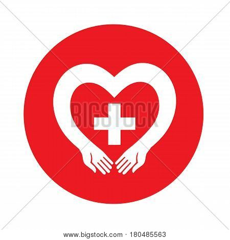 Vector icon medical cross in human hands. Donation idea. Valentines day concept. Cardiac medical Health Logotype.