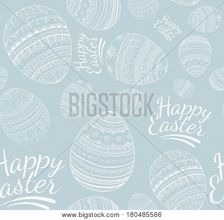 Seamless happy easter pattern, eggs and text on light blue background