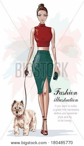 Stylish woman in fashion clothes with little dog. Beautiful fashion woman with hand bag. Sketch. Vector illustration.