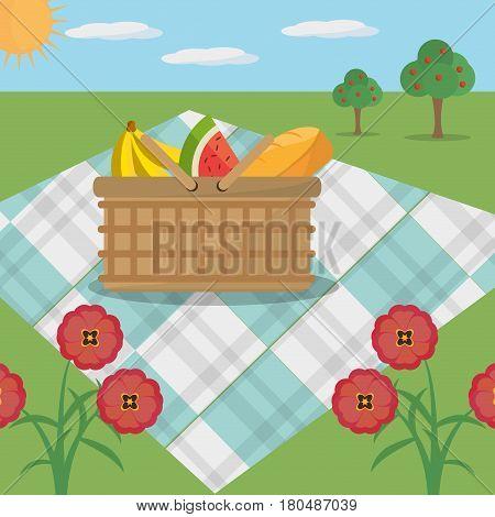 picnic basket blanket meadow flowers vector illustration eps 10