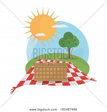 picnic basket tablecloth landscape vector illustration eps 10