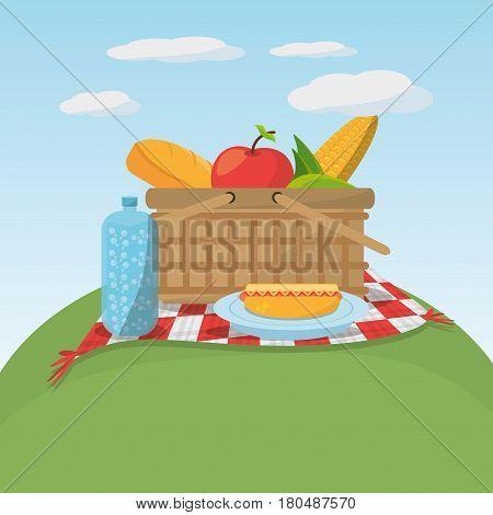 picnic food basket meaodw blanket vector illustration eps 10