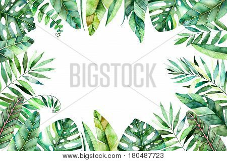 Colorful watercolor frame border with colorful tropical leaves.