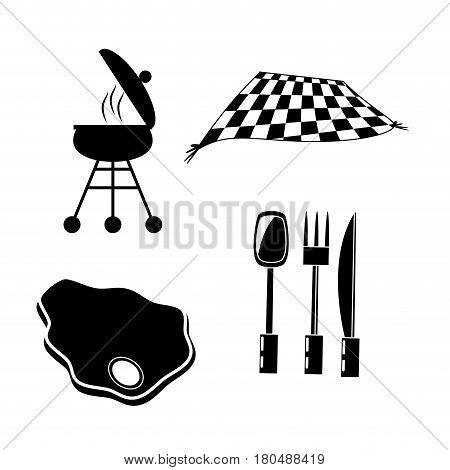 set picnic meat cuttlery grill and blanket vector illustration eps 10