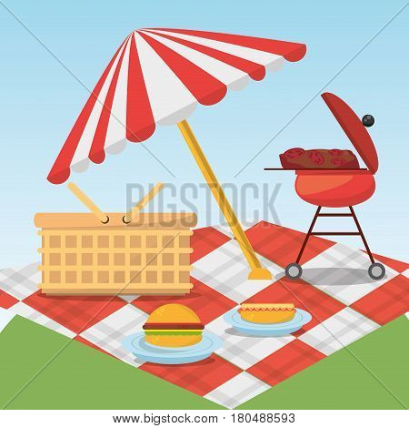 picnic relax umbrella blanket basket and grill food vector illustration eps 10