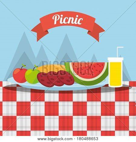 picnic fruits fod juice tablecloth mountains background vector illustration eps 10