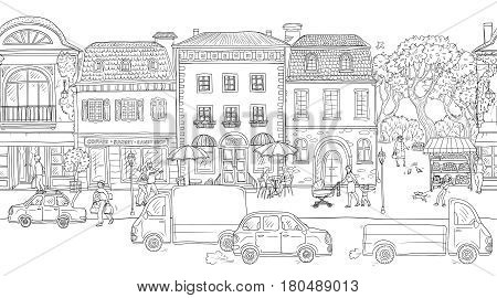Seamless pattern background. Vector illustration. Urban street in the historic European city. People walking, residential buildings with cafes and shops, the different situations of town life.