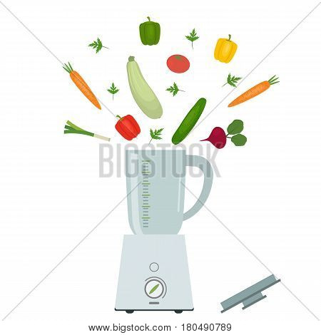 Blender and vegetables isolated on a white background. There is a carrot, a tomato, sweet peppers, a green onion, a cucumber, a zucchini, a beet and parsley in the picture. Vector flat illustration.