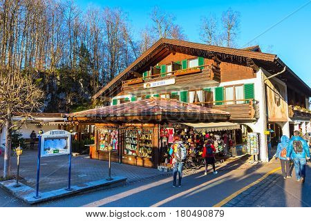 Fussen, Germany - December 27, 2016: Beautiful painted of traditional bavarian gift shop near Neuschwanstein castle