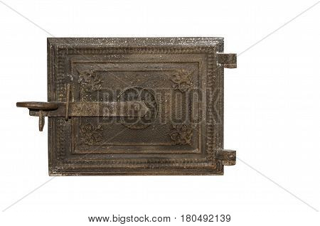 Furnace metal door. Metal door isolated on white background .