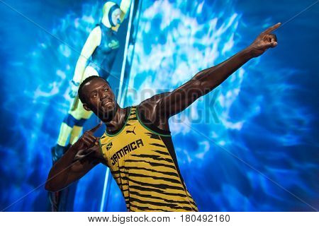 ISTANBUL, TURKEY - MARCH 16, 2017: Usain Bolt wax figure at Madame Tussauds wax museum in Istanbul. Usain Bolt is one of the greatest sprinters of all time