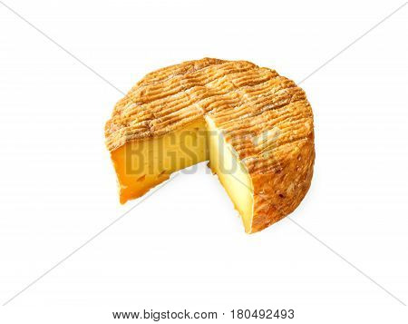 Soft washed-rind cheese round isolated on white