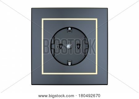 black electrical outlet 3D rendering isolated on white background