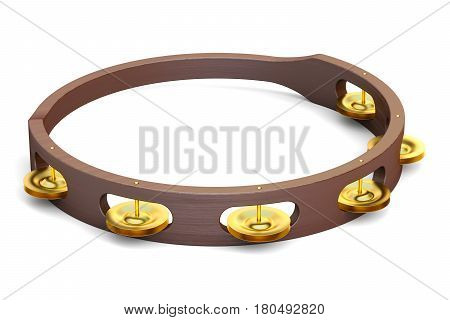 Tambourine 3D rendering isolated on white background
