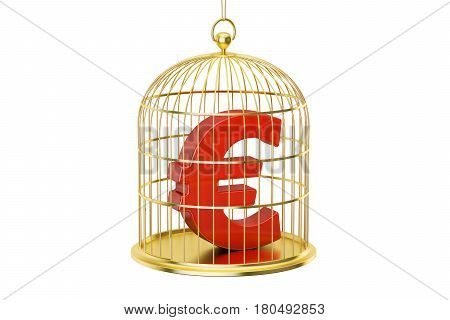 Birdcage with Euro currency symbol inside 3D rendering isolated on white background