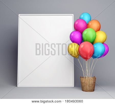 balloons and empty poster isolated on grey. 3d illustration