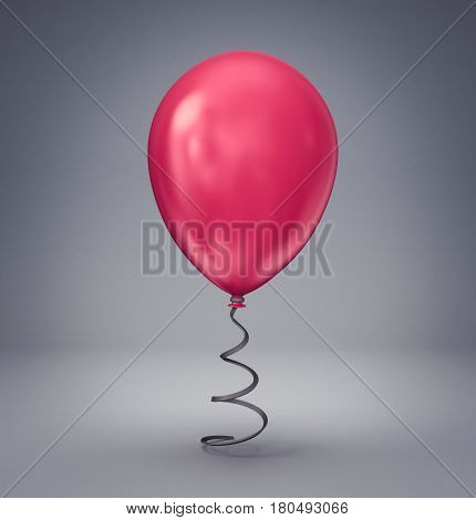 red balloon isolated on a grey background. 3d illustration