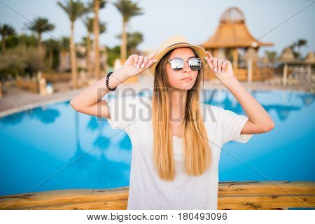 Woman Near Pool On Summer Vocation.