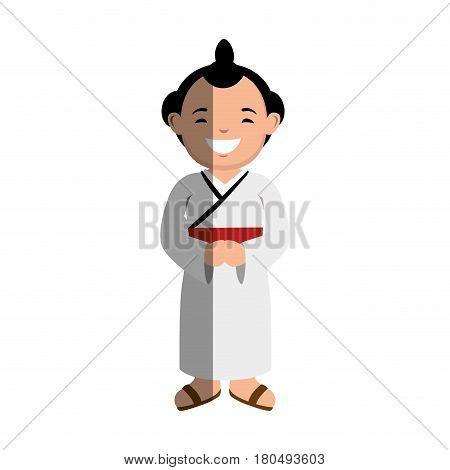 japanese ethnic man avatar vector illustration design
