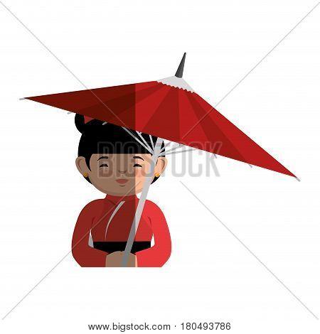 geisha japanese girl with umbrella icon vector illustration design