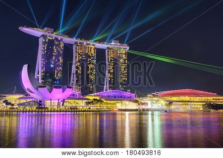 SINGAPORE CITY, SINGAPORE - FEBRUARY 11, 2017: Wonder Full   Light & Water Show  Marina Bay Sand Singapore  on FEBRUARY 11, 2017