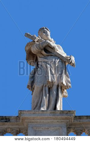 ROME, ITALY - SEPTEMBER 02: St. Charles Borromeo, fragment of colonnade of St. Peters Basilica. Papal Basilica of St. Peter in Vatican, Rome, Italy on September 02, 2016.