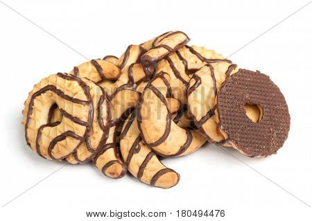 Group chocolate cookies isolated on white