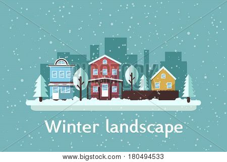 Landscape in flat style. Isolated urban landscape with snowfall. Winter landscape. Vector illustration.
