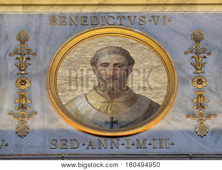 ROME, ITALY - SEPTEMBER 05, 2016: The icon on the dome with the image of Pope Benedict VI was Pope from 19 January 973 to his death in 974 in the basilica of Saint Paul Outside the Walls, Rome