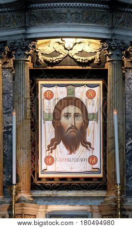 ROME, ITALY - SEPTEMBER 03: Icon of Christ called the Mandylion or Image of Edessa, Basilica of Saint Sylvester the First (San Silvestro in Capite) in Rome, Italy on September 03, 2016.