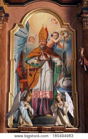MARTINSKA VES, CROATIA - JUNE 03: Saint Martin altarpiece in Parish Church of Saint Martin in Martinska Ves, Croatia on June 03, 2011.