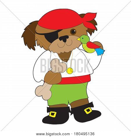 A dog dressed as a pirate has a parrot on one shoulder and is holding a large dog bone